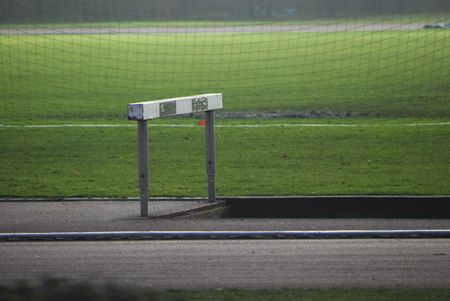 race track with a hurdle in a stadium Stock Photo
