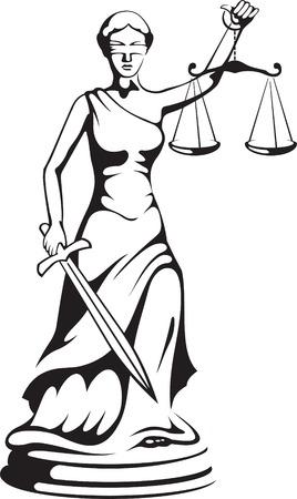 gerechtigheid: Themis - een godin van de recht spraak  Stock Illustratie