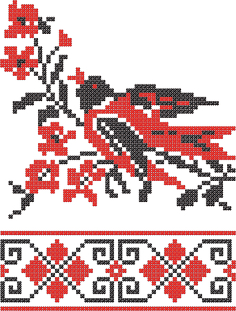 ucraniano: Embroidery Slavic pattern on a white background.