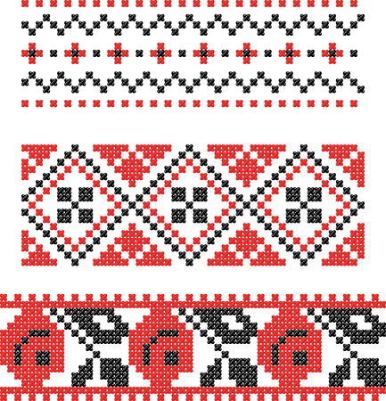Embroidery Slavic cross pattern Vector