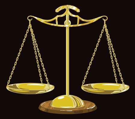 justice scales: Gold scales on the black background. Illustration