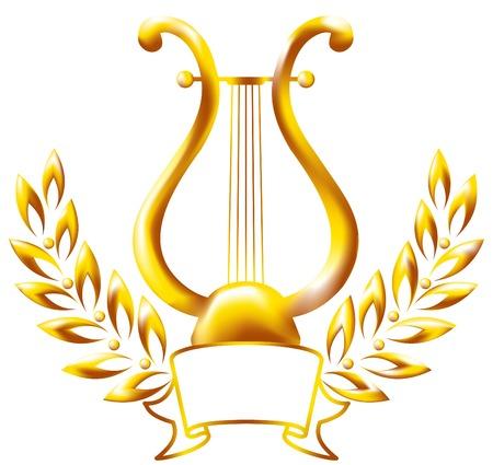 harfe: Gold Lyra, umrahmt von einem Lorbeerkranz.