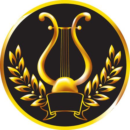 harfe: Gold Leier, umrahmt von einer Lorbeer-Kranz.