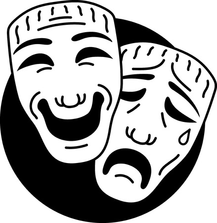 Theatre comedy and tragedy masks Vector