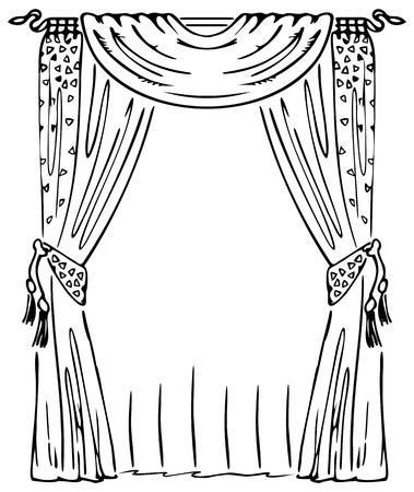 curtain design: Sipario su una finestra Vettoriali