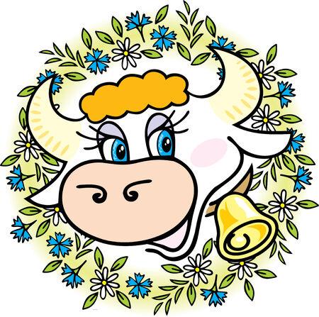 cow bells: Una vaca buena en flores  Vectores