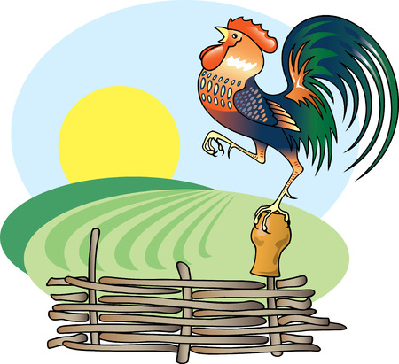 Singing Rooster and morning Sun. Stock Vector - 7287831