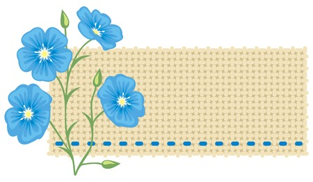 Flax flower and a piece of linen. Vector
