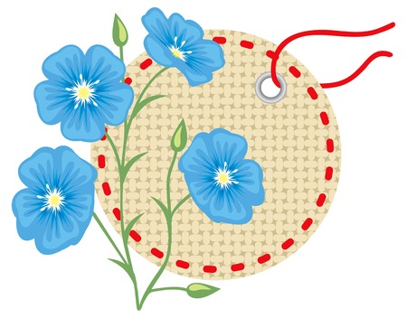 Flax flower with label Vector