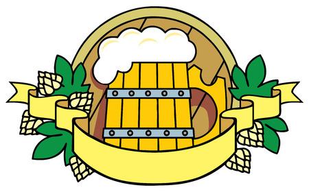 Beer with hops, a barrel and ribbon. Logo. Logo