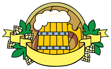 brewery: Beer with hops, a barrel and ribbon. Logo.