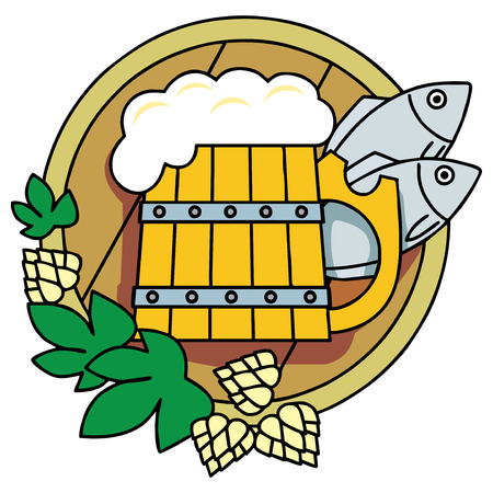 Beer with hops, a barrel and fish. Logo. Vector