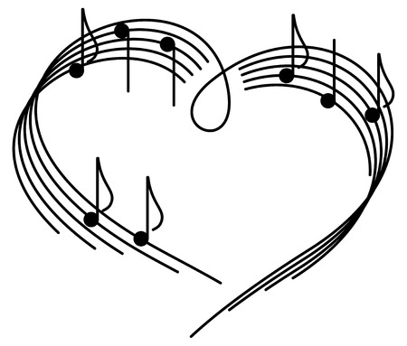melody: Music of love. The heart of the music camp with notes.