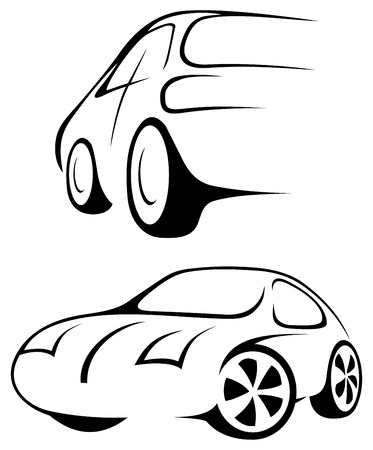 Cars. Line drawing in black and white. Stock Vector - 7639564