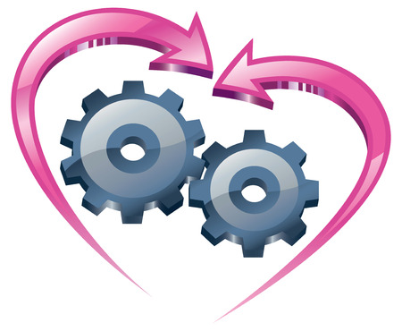mutual: Spinning gears and arrows in the form of the heart.