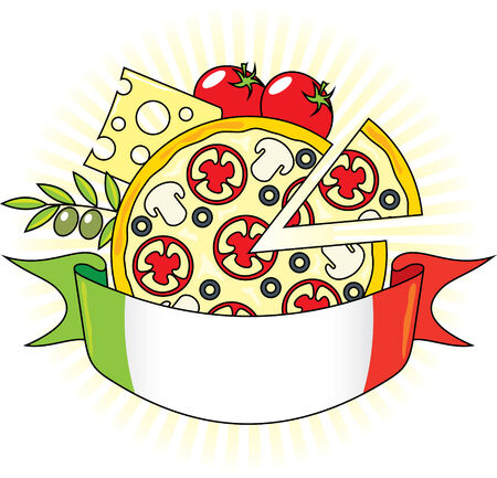 tomato sauce: Pizza with the components and the flag of Italy. Emblem.