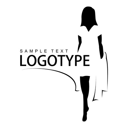 Logotype with silhouette of a beautiful girl. Line drawing.