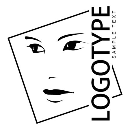 Logotype with portrait of a beautiful girl. Line drawing.
