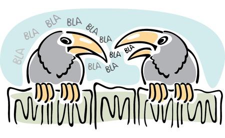 Gossip. Twee kraaien praten zittend op het hek.