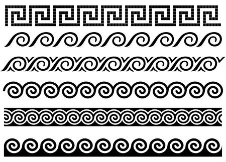 grec antique: M�andre et vague. Fronti�res grecques antiques. Ensemble des ornements. Illustration