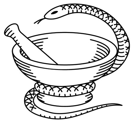 pestle: Pharmaceutical mortar, pestle and a snake.