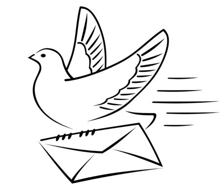 addressee: Carrier-pigeon gives an envelope with a letter to the addressee. Illustration