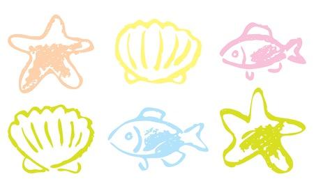 shellfish: Fish and shellfish. hand drawing.