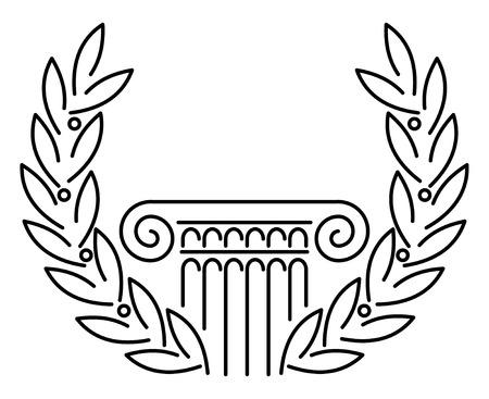 zuilen: Antieke Griekse kolom en laurier. illustratie.