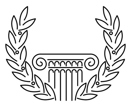 columns: Antique Greek Column and Laurel. illustration.