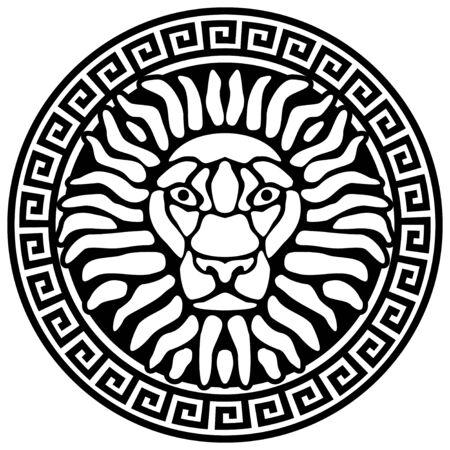 lion face: Portrait of a lion, and meanders. Antique relief.  illustration. Illustration