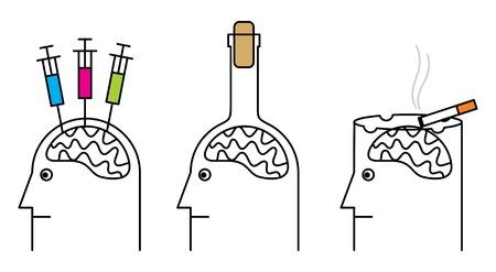 drogue: Habitudes nuisibles � la sant�. Tabagisme, la toxicomanie, l'alcoolisme. Illustration