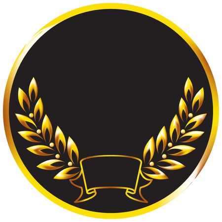 black wreath: Medal with a golden laurel branch. illustration.
