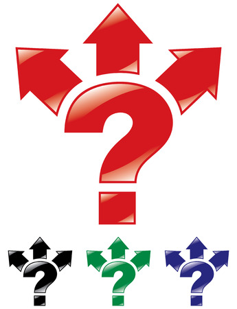 Question mark, and arrows in three directions. Vector illustration. Stock Vector - 8257574