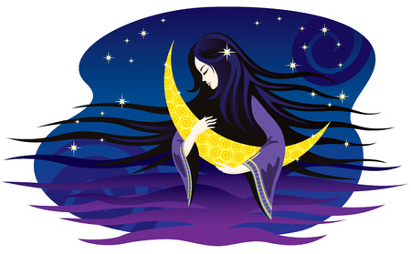 lullaby: Girl-night sings a lullaby for the moon. Vector illustration. Illustration
