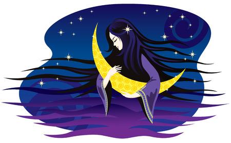 lullaby: La noche de la chica canta una canci�n de cuna a la Luna. Ilustraci�n vectorial.