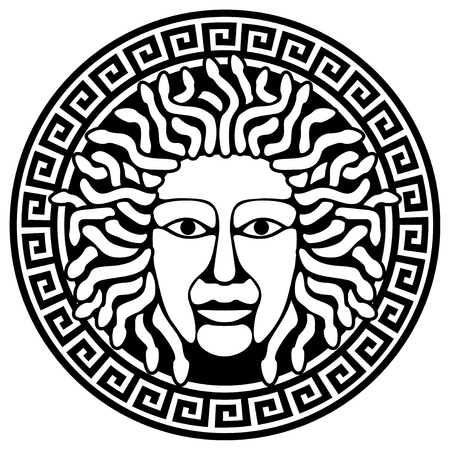 medusa: Illustration of Medusa Gorgon head with snake hair. Round  meander illustration.