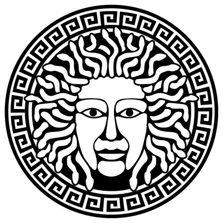 meander: Illustration of Medusa Gorgon head with snake hair. Round  meander illustration.