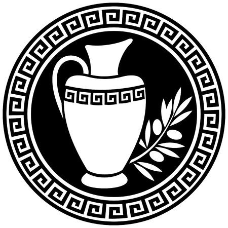 Anfora greca antica e ramoscello di ulivo nel frame con un meandro.