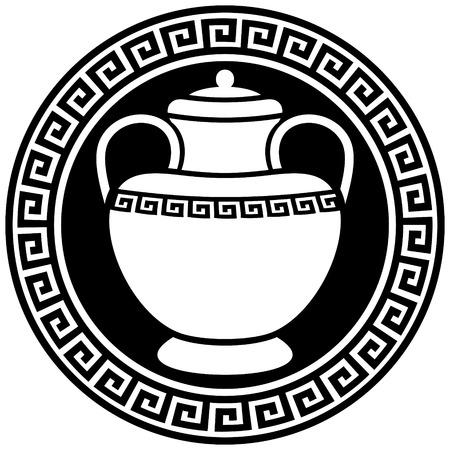 Anfora greca antica nella cornice con meandri.