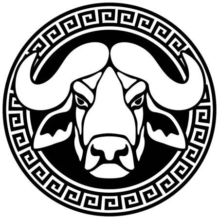 Portret van een buffel in een frame met een meander.