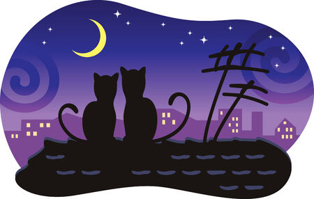 Lovers cats sitting on the roof of the house and look at the moon. Vector
