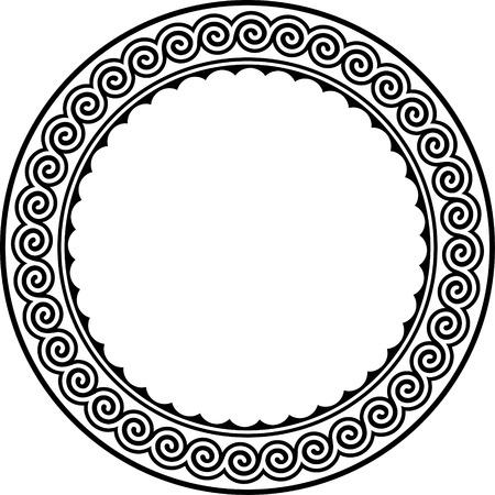 diosa griega: Marco redondo con meandro.