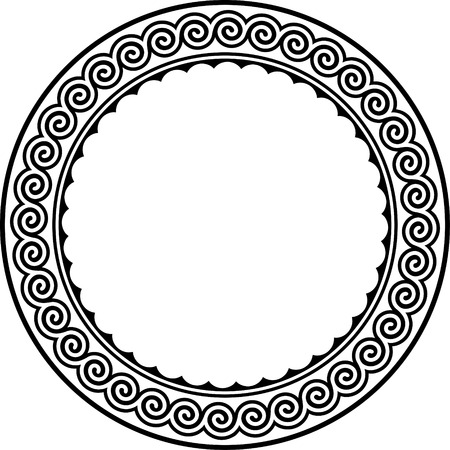 the greek goddess: Round frame with meander.