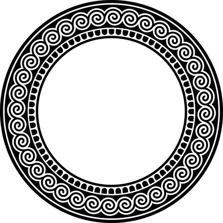 goddess: Round frame with meander.