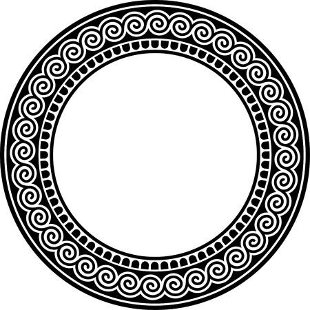 Runde Rahmen mit Mäander. Vektorgrafik