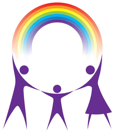round logo: Happy family holding a rainbow in your hands.