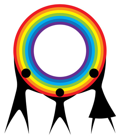 Happy family holding a rainbow in your hands. Vector
