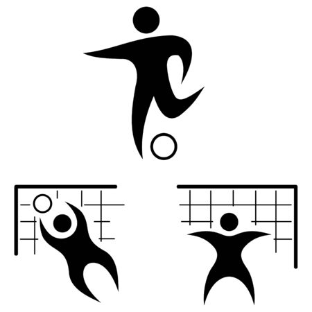 stylization: Football. Icon set. Silhouettes of the players