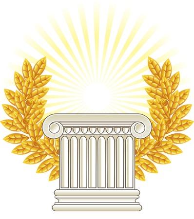 Antique Greek Column and gold Laurel. Vetores