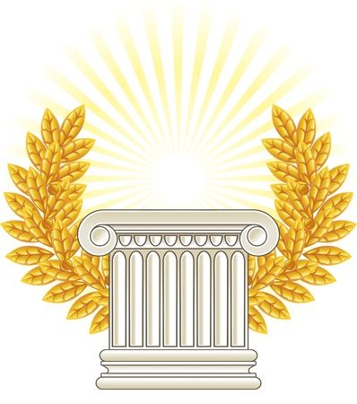 roman column: Antique Greek Column and gold Laurel.